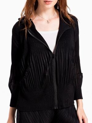 Casual Zipper Long Sleeve Hoodie Pleated Pockets Coat_2
