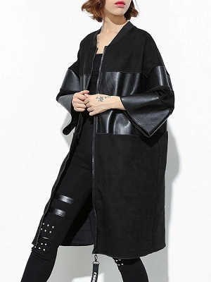 Black PU Paneled Zipper 3/4 Sleeve Coat_5