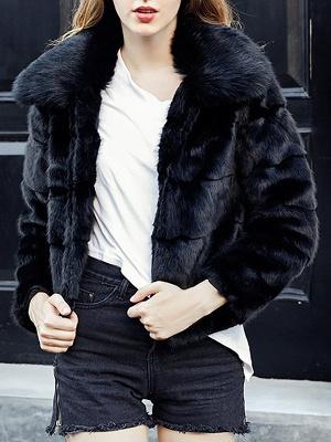 Black Long Sleeve Shift Shawl Collar Casual Color-block Fur and Shearling Coat_6