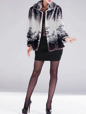 Floral-print Ombre/Tie-Dye Fur and Shearling Coat_8