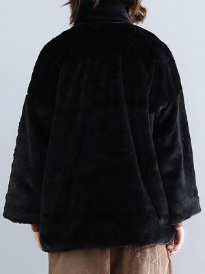 Solid Long Sleeve Pockets Fluffy Fur And Shearling Coats_13