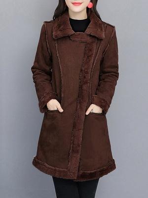 Paneled Zipper Lapel Casual Fur And Shearling Coats_1