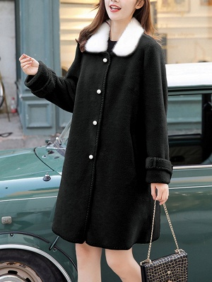 Buttoned Solid Shirt Collar Paneled Fur And Shearling Coats_3