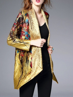 Yellow Abstract Shawl Collar Casual Asymmetrical Crinkled Batwing Coat_5