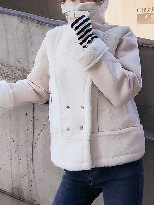 Buttoned Solid Shawl Collar Fur And Shearling Coats_7