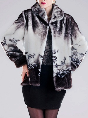 Floral-print Ombre/Tie-Dye Fur and Shearling Coat_2