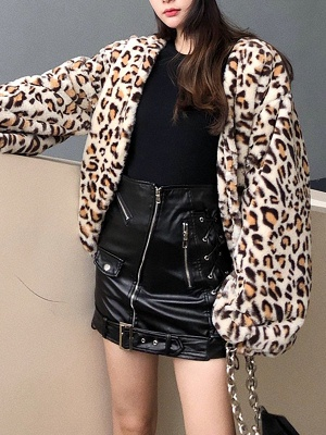 Leopard Print Casual Fur And Shearling Coats_7
