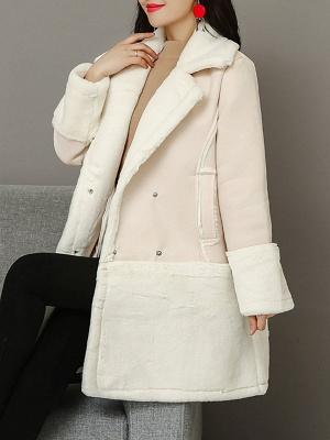 Lapel Long Sleeve Shift Solid Fur And Shearling Coats_1
