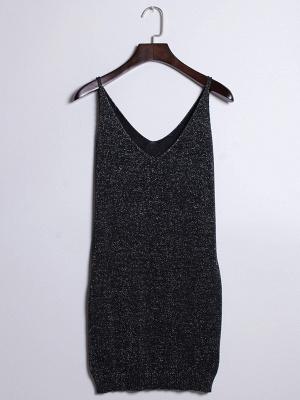 Sleeveless Deep V-neck Silver Wire Knit Harness Vest Tank Top_6