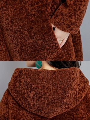 Buttoned Long Sleeve Hoodie Fur And Shearling Coats_10