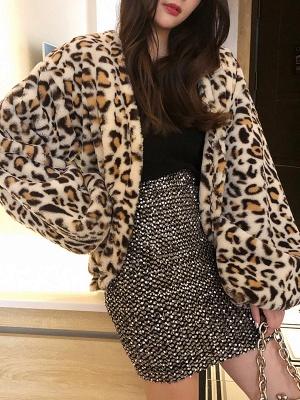 Leopard Print Casual Fur And Shearling Coats_1