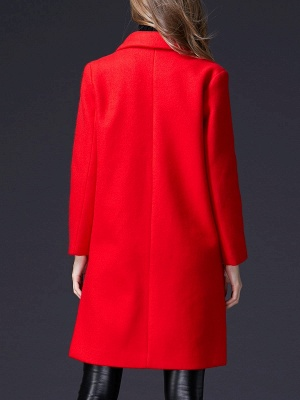 Red Casual Buttoned Lapel Coat_3
