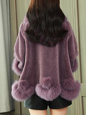 Paneled Shawl Collar Long Sleeve Fur And Shearling Coats_8