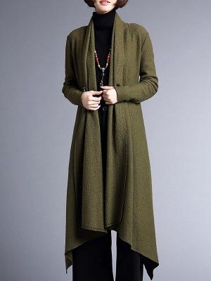 Shawl Collar Casual Long Sleeve Coat_2