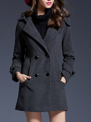 Gray Casual Long Sleeve Hoodie Coat_1