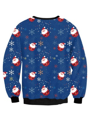 Women's Blue Santa Claus Snowflake Printed Long Sleeves Casual Christmas Sweatshirt_3