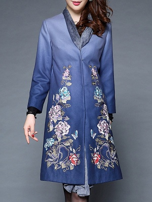 Blue Casual Paneled Shift Floral Coat_7