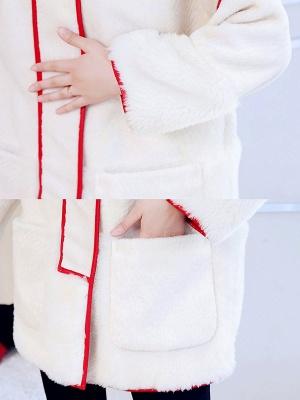 White Long Sleeve Shirt Collar Fur And Shearling Coats_6