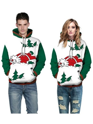 Plus Size Couple Hoodies Funny Christmas Cartoon Santa Claus Printed Loose Jumper Hooded Clothes for Men/Women - WSDear._4