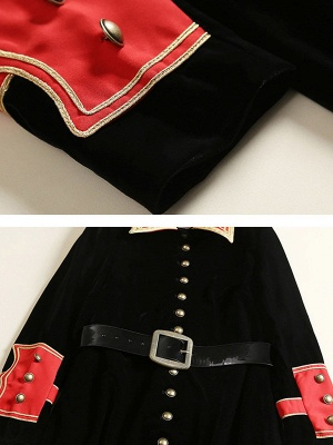 Black Solid Shift Elegant Velvet Coat_6