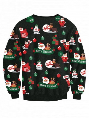 Casual Black Santa Claus Merry Christmas Sweatshirt For Women_3