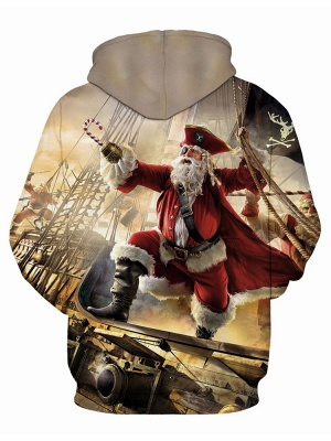 Ugly Christmas Plus Size Couple Hoodies Santa Claus Pirate Fashion Printed Hooded Clothes for Men/Women_3