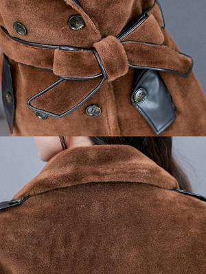 Solid Paneled Long Sleeve Fur And Shearling Coats_8