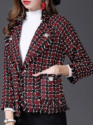 Red Work 3/4 Sleeve Checkered/Plaid Buttoned Coat_4