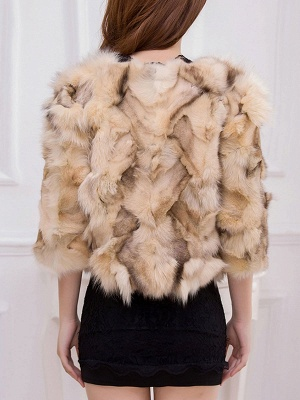 Shift 3/4 Sleeve Casual Fluffy Fur and Shearling Coat_5
