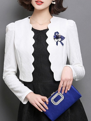Bow Casual Solid Long Sleeve Flowers Coat_1