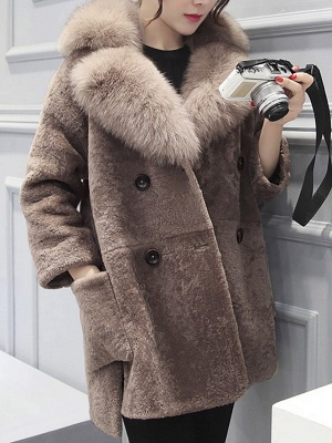 Fluffy Paneled Buttoned Pockets Fur and Shearling Coat_1