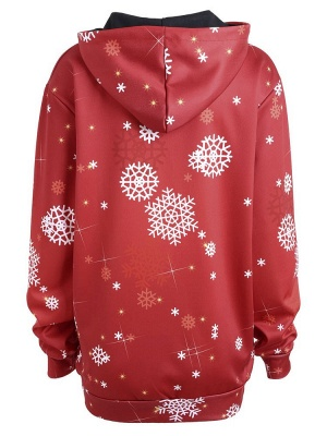 Christmas Hooded Couple Clothes Red Cartoon Santa Claus Snowflake Printed Long Sleeves Thick Hoodie for Men/Women - WSDe_3