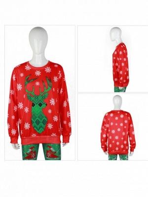 Women's Cute Christmas Elk Snowflake Printed Red Long Sleeves Sweatshirts_4