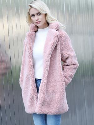 Long Sleeve Shirt Collar Solid Shift Fur And Shearling Coats_2