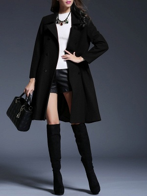 Long Sleeve Casual Lapel Buttoned Solid Coat_2