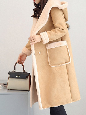 Hoodie Long Sleeve Casual Fur And Shearling Coats_8