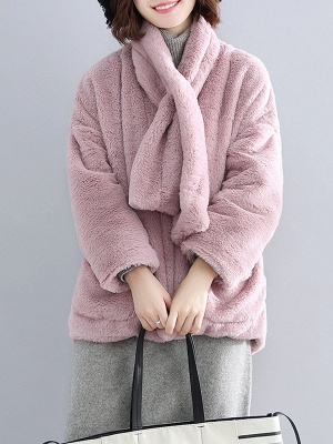Solid Long Sleeve Pockets Fluffy Fur And Shearling Coats_3