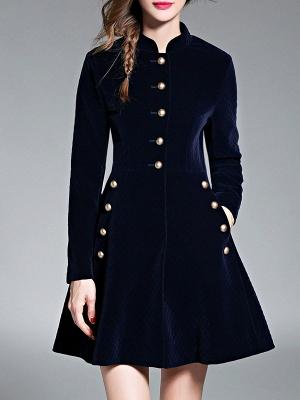 Navy Blue Elegant Stand Collar Velvet Coat_1