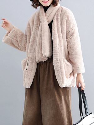 Solid Long Sleeve Pockets Fluffy Fur And Shearling Coats_1