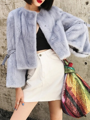 Fluffy Crew Neck Casual Fur And Shearling Coats_3