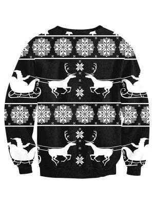 Women's Casual Black Elk Snowflake Printed Long Sleeves Christmas Sweatshirt_3