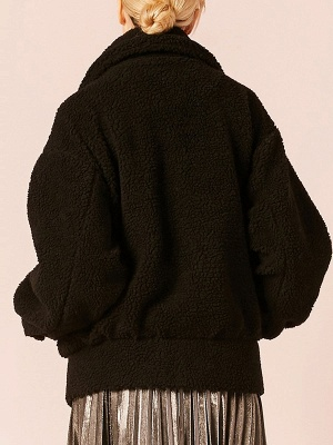 Black Buttoned Long Sleeve Solid Fur And Shearling Coats_3