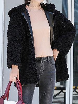 Pockets Hoodie Zipper Fur And Shearling Coats_4