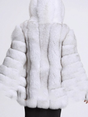 Fluffy Hoodie Casual Artificial LeatherAnd Shearling Coat_3