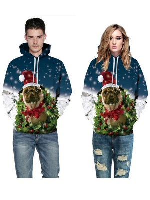 Women/Men Ugly Christmas Dog Printed Hoodies Plus Size Couple Jacket Hooded Clothes_4