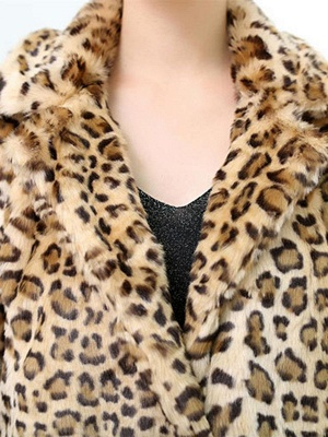 Casual Leopard Print Long Sleeve Artificial Leather And Shearling Coat_6