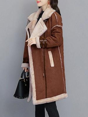 Paneled Long Sleeve Shift Fur And Shearling Coats_4