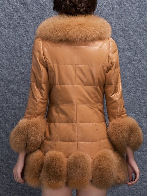 Fluffy Pockets Buttoned A-line Fur and Shearling Coat_6