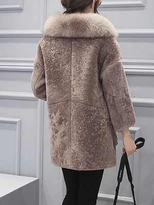 Fluffy Paneled Buttoned Pockets Fur and Shearling Coat_4