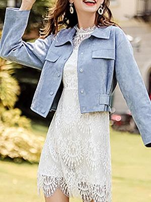 Blue Shirt Collar Long Sleeve Solid Coat_9